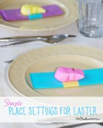Add some pizzazz to your Easter Table with these simple table settings using Peeps candy {OneCreativeMommy.com} These look so easy and cute!