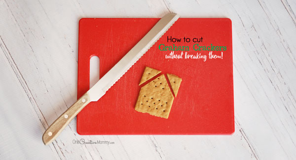 How to cut graham crackers without breaking them! Perfect for Gingerbread houses {OneCreativeMommy.com}