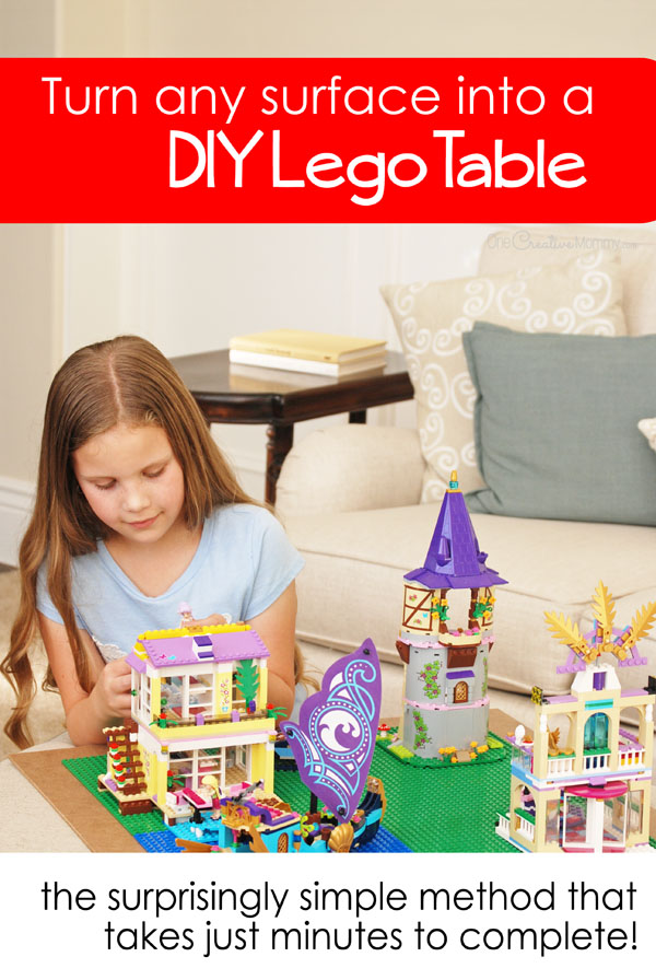 3 Easy steps to turn any surface into a Lego table in just minutes! {OneCreativeMommy.com} DIY Lego Table