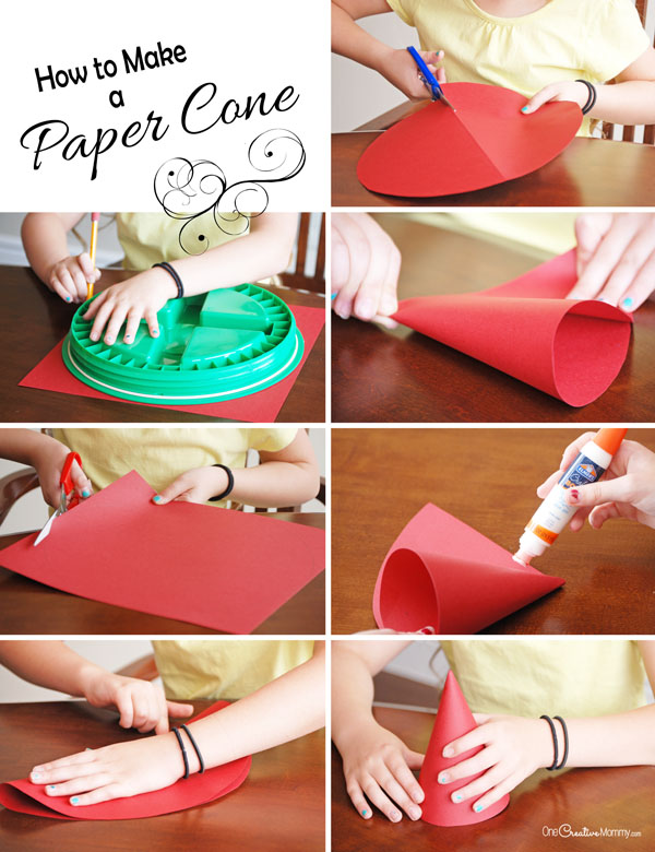 Learn how to make a paper cone, and then check out an adorable paper cone Santa kids craft! {OneCreativeMommy.com}