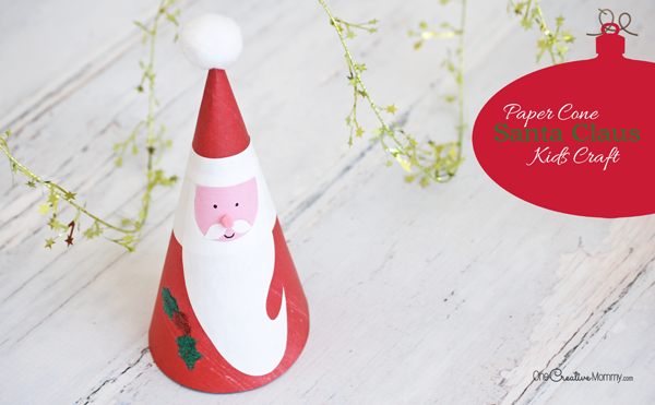 Adorable Paper Cone Santa Claus Kids Craft for Christmas {OneCreativeMommy.com} Free Printable