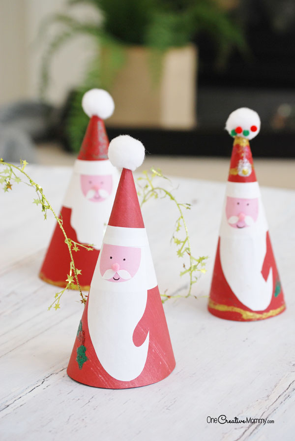 these christmas crafts for kids are adorable make this easy paper cone santa claus