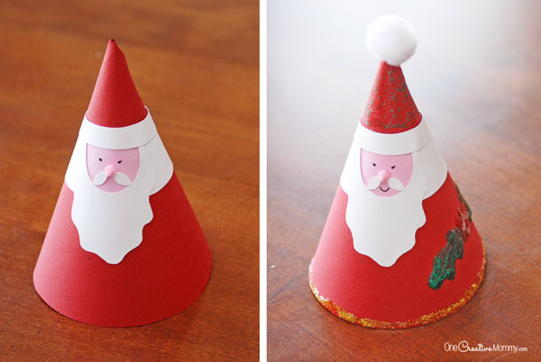 Paper Cone Santa Claus Christmas Kids Craft {OneCreativeMommy.com}