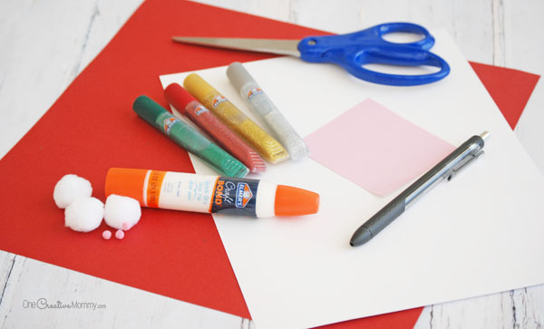 Paper Cone Santa Claus Kids Craft Materials {OneCreativeMommy.com}