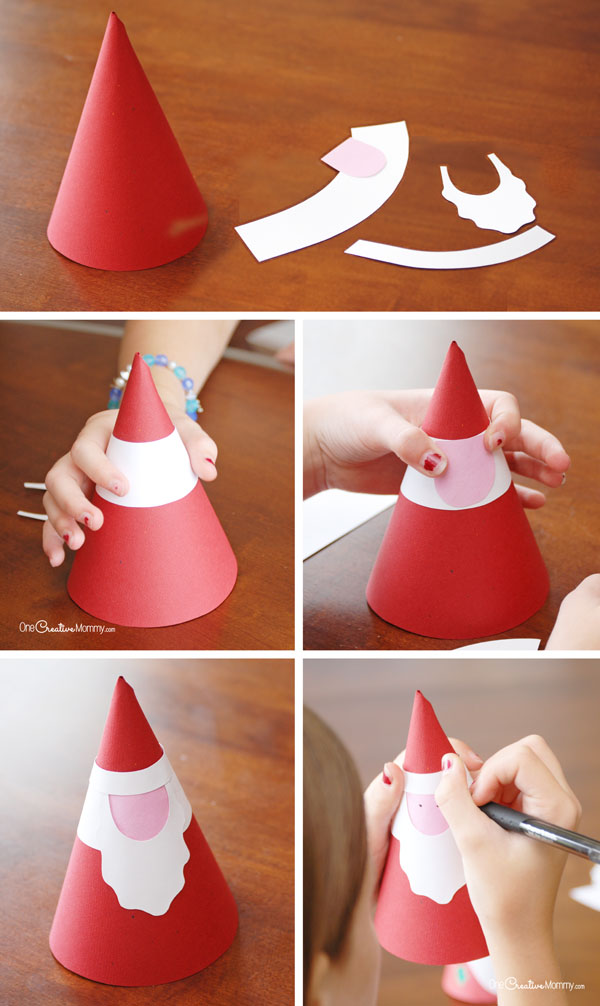 Paper Cone Santas Christmas Kids Craft {OneCreativeMommy.com}