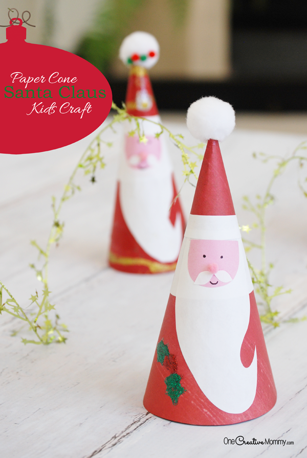 These Christmas kids crafts are adorable! Make this easy Paper Cone Santa Claus {OneCreativeMommy.com} Free Printable to make it even easier!