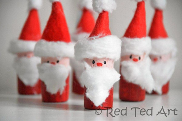 Easy Santa Corks Ornaments (& Santa Bowling) from Red Ted Art {Featured in 25 Amazing Santa Claus Christmas Crafts on OneCreativeMommy.com}
