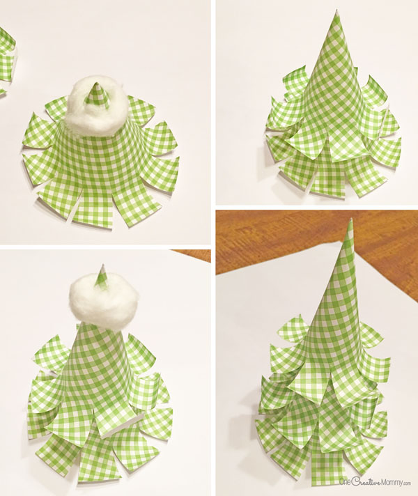 Paper Christmas Tree Steps {OneCreativeMommy.com}