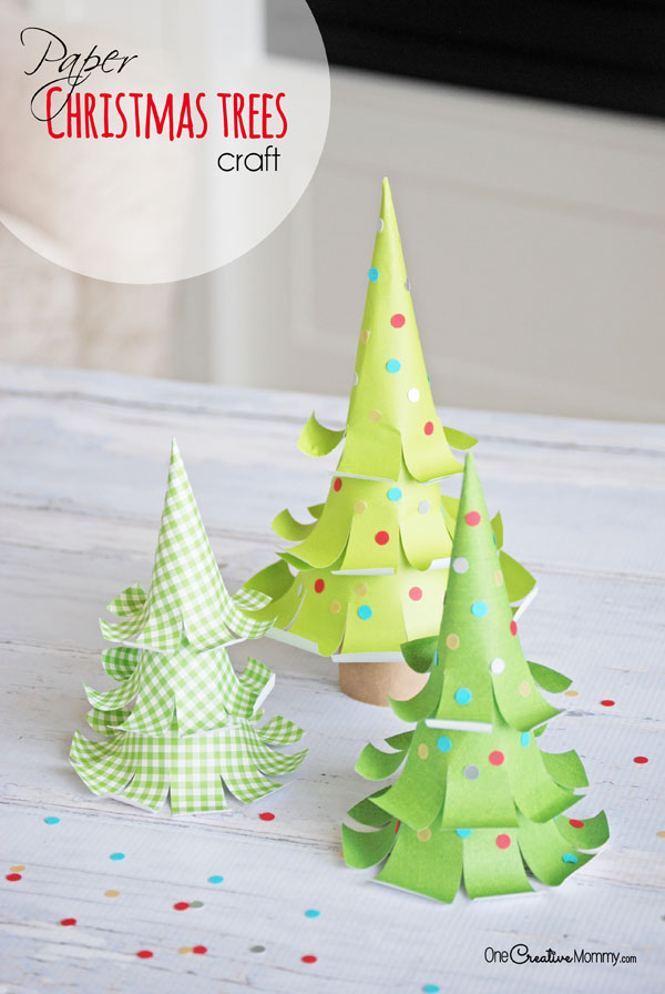 Amazing Paper Christmas Tree Crafts! {OneCreativeMommy.com} These are such cute Christmas decorations! #sponsored