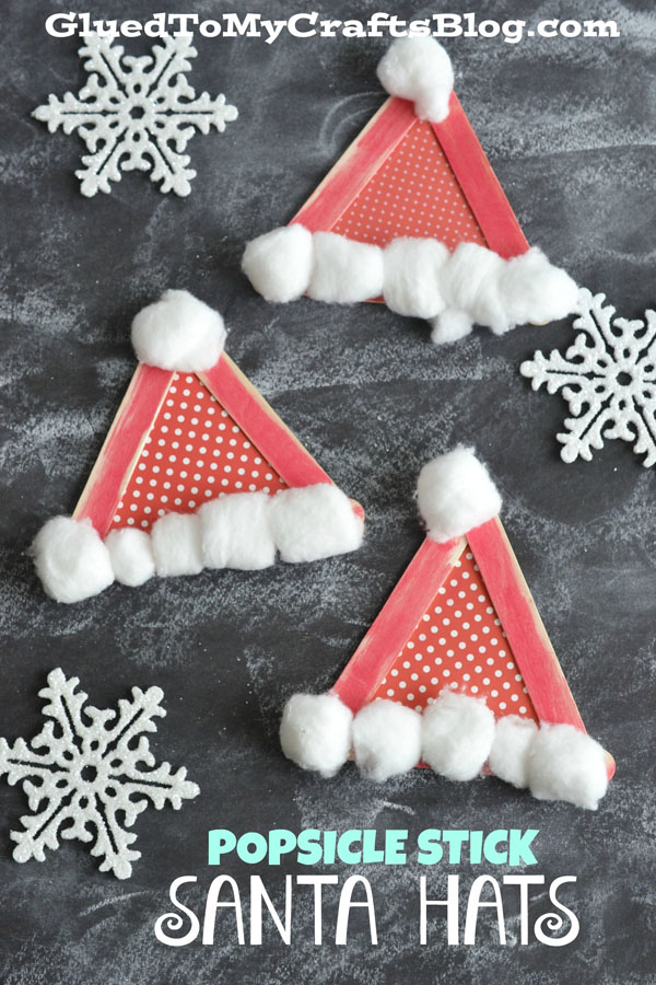 Popsicle Stick Santa Hats from Glued to My Crafts {Featured in 25 Amazing Santa Claus Christmas Crafts on OneCreativeMommy.com}