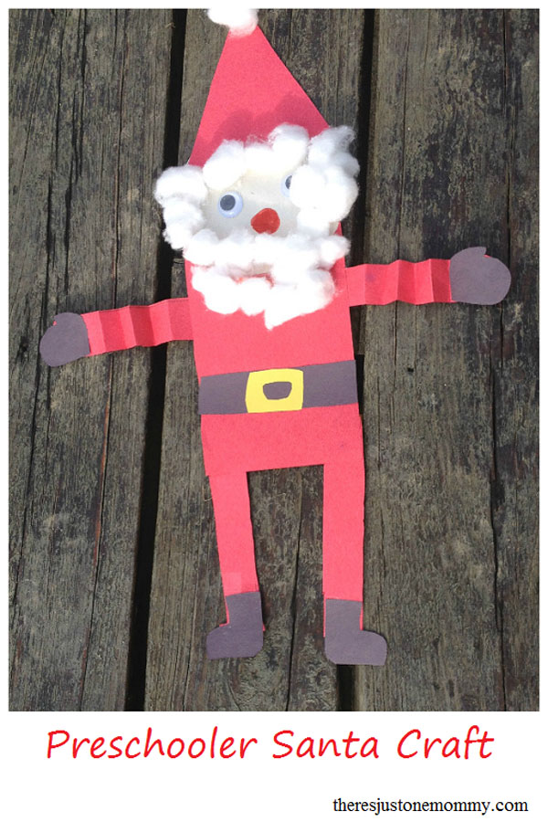 Preschooler Santa Craft from There's Just One Mommy {Featured in 25 Amazing Santa Claus Christmas Crafts on OneCreativeMommy.com}