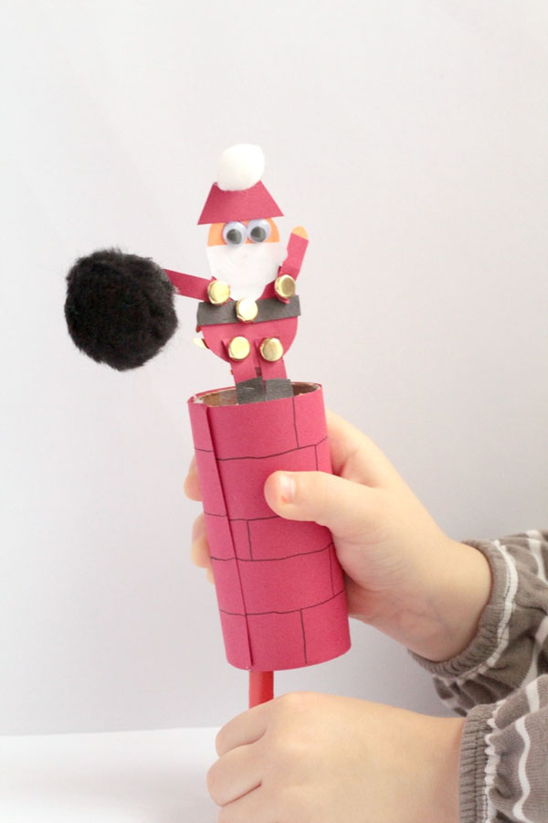 Help Santa Down the Chimney Craft from Sight and Sound Reading {Featured in 25 Amazing Santa Claus Christmas Crafts on OneCreativeMommy.com}