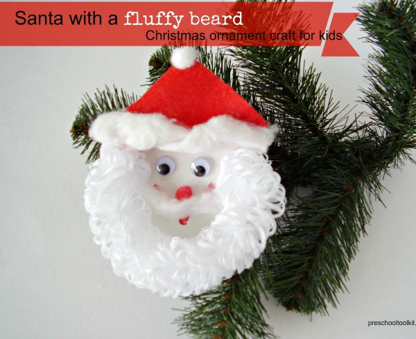Fluffy Bearded Santa Christmas Ornament from Preschool Toolkit {Featured in 25 Amazing Santa Claus Christmas Crafts on OneCreativeMommy.com}
