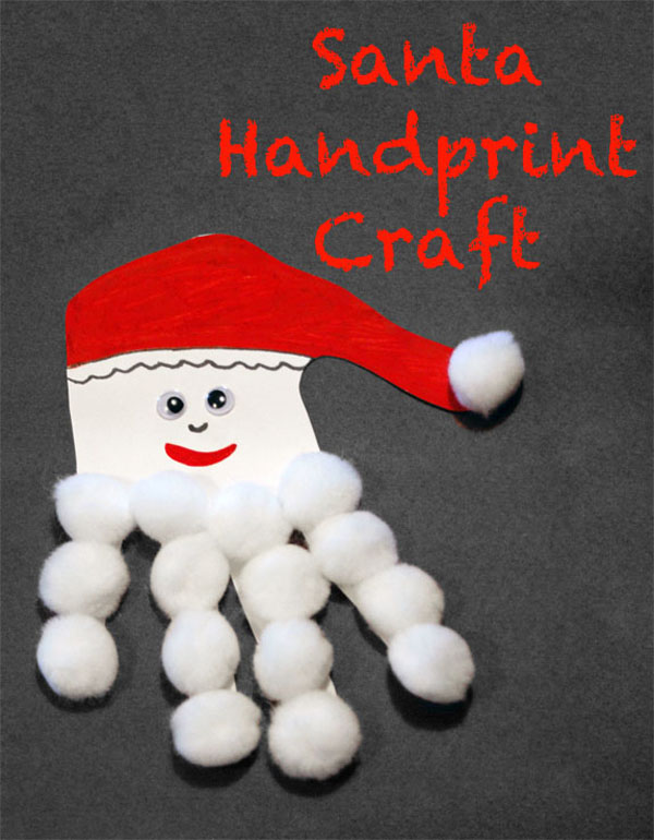 Santa Handprint Craft from Someday I'll Learn {Featured in 25 Amazing Santa Claus Christmas Crafts on OneCreativeMommy.com}