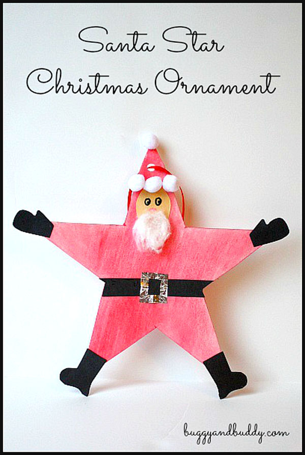 Santa Star Christmas Ornament from Buggy and Buddy {Featured in 25 Amazing Santa Claus Christmas Crafts on OneCreativeMommy.com}