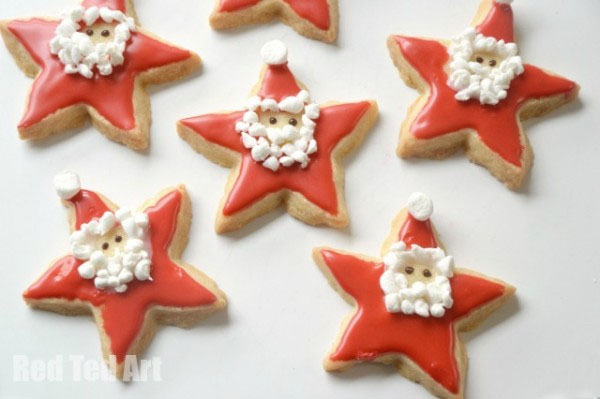 Santa Star Cookies from Red Ted Art {Featured in 25 Amazing Santa Claus Christmas Crafts on OneCreativeMommy.com}