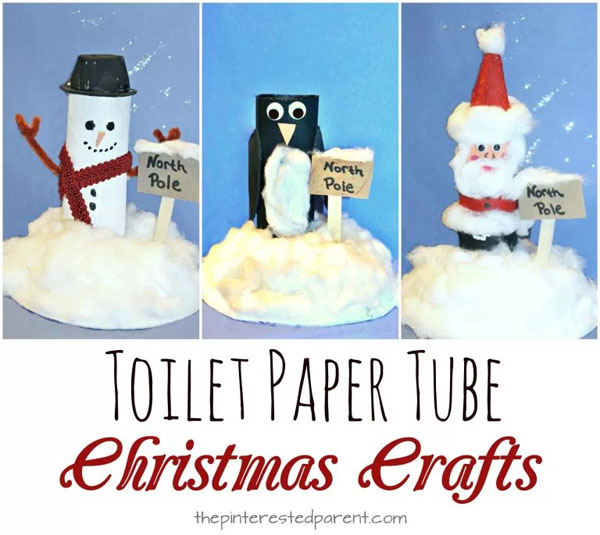 Toilet Paper Tube North Pole Scenes from The Pinterested Parent {Featured in 25 Amazing Santa Claus Christmas Crafts on OneCreativeMommy.com}